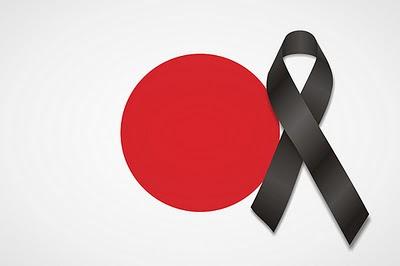 Bandera de Japon con lazo negro